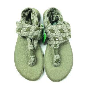 SANUK Yoga Sling 2 Quilt flip flop sandals 7 green